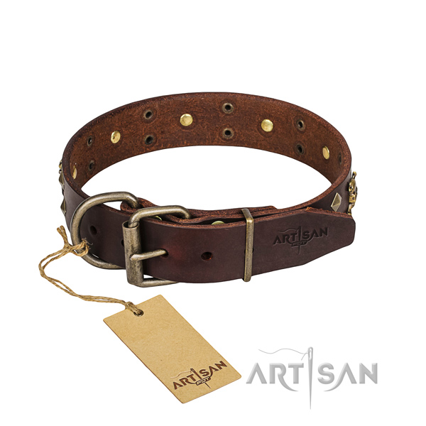 Strong leather dog collar with sturdy hardware