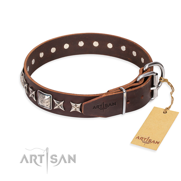 Wear-proof leather collar for your noble four-legged friend
