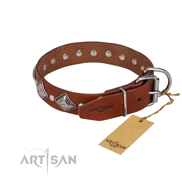 Natural leather dog collar with thoroughly polished exterior