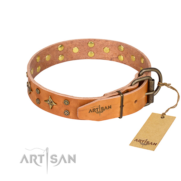 Durable leather collar for your favourite dog