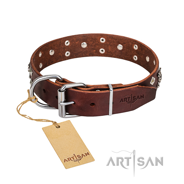 Leather dog collar with smoothed edges for convenient everyday wearing