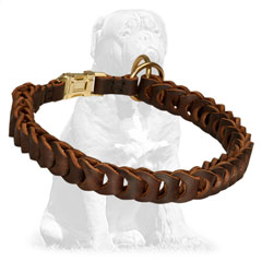Braided Choke Leather Mastiff Collar Brass Fittings