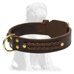 Safe and eco-friendly brown leather dog collar