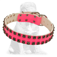 Decorated by hand pink leather collar