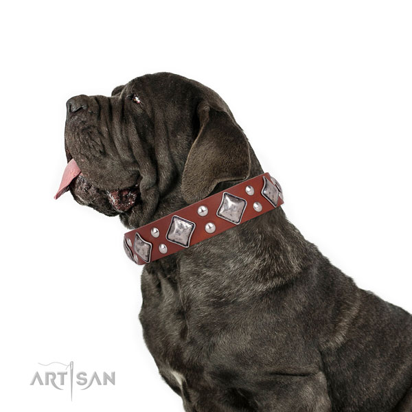 Mastiff stylish genuine leather dog collar for easy wearing title=Mastiff natural genuine leather collar with decorations for basic training