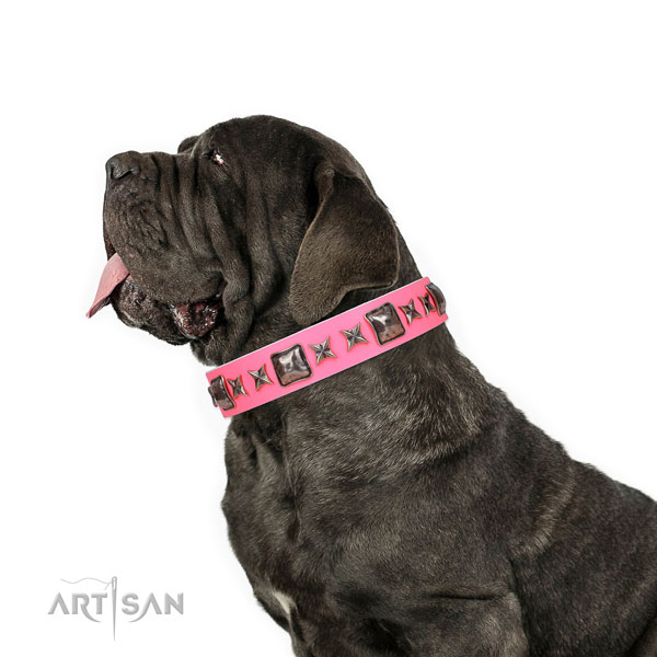 Mastiff fashionable natural genuine leather dog collar for stylish walking title=Mastiff full grain genuine leather collar with decorations for everyday use