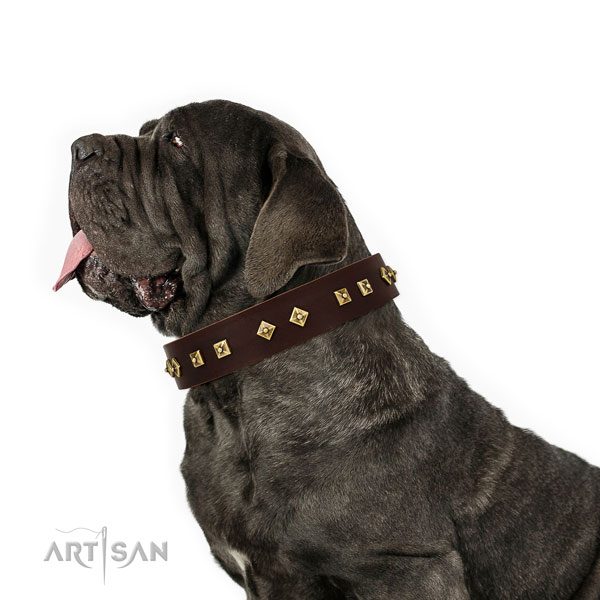 Mastiff stylish design full grain natural leather dog collar for stylish walking title=Mastiff natural genuine leather collar with decorations for fancy walking