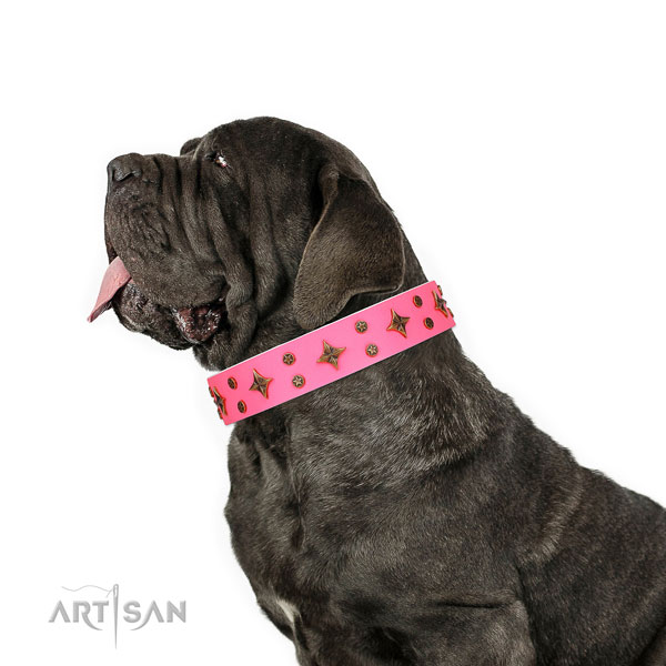 Mastiff incredible leather dog collar for stylish walking title=Mastiff natural genuine leather collar with adornments for comfortable wearing