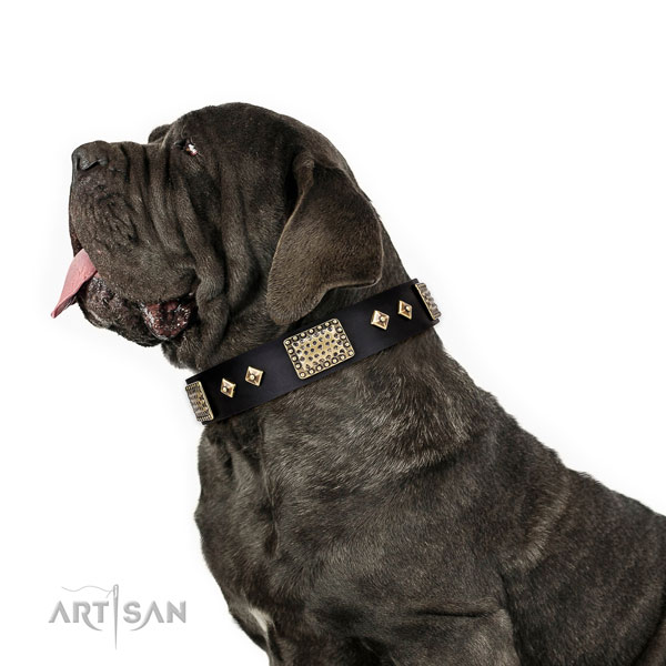 Mastiff easy to adjust genuine leather dog collar for walking title=Mastiff natural genuine leather collar with studs for handy use