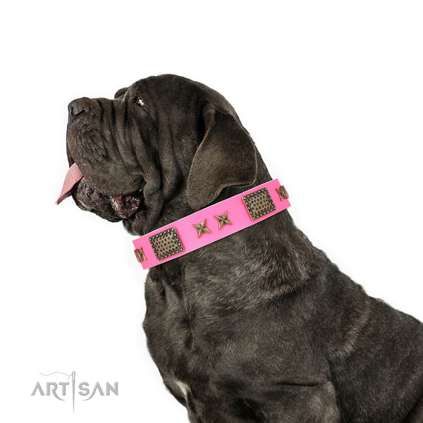 Mastiff fine quality full grain natural leather dog collar for walking title=Mastiff full grain natural leather collar with embellishments for everyday use