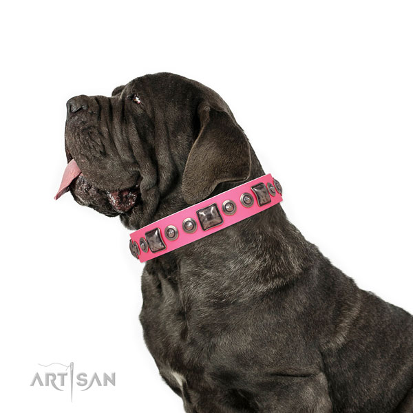 Mastiff top notch natural genuine leather dog collar for easy wearing title=Mastiff leather collar with decorations for comfy wearing