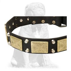 Strong black leather dog collar