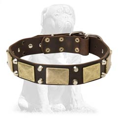 Safe for walking brown leather dog collar