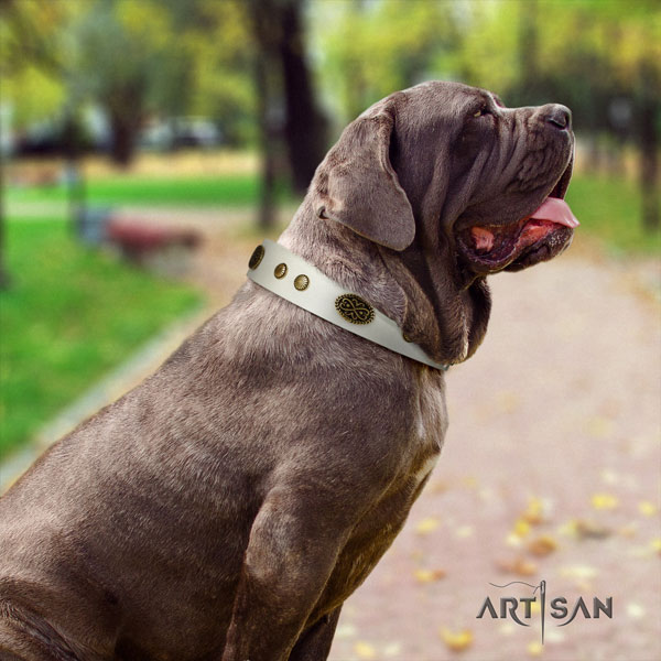 Mastino Napoletano handmade full grain genuine leather collar with decorations for your canine