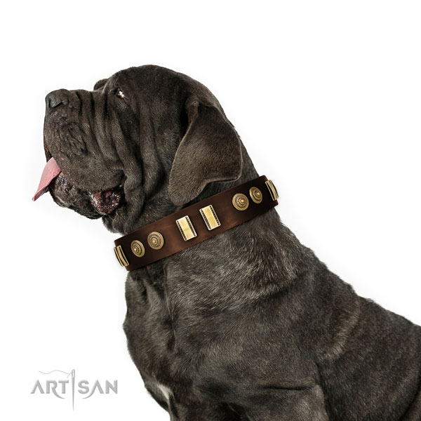 Durable traditional buckle on natural leather dog collar for fancy walking