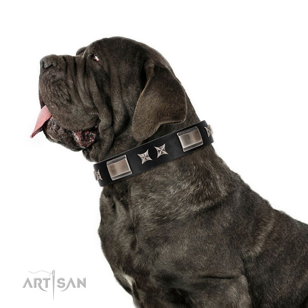Daily walking reliable full grain natural leather dog collar with studs
