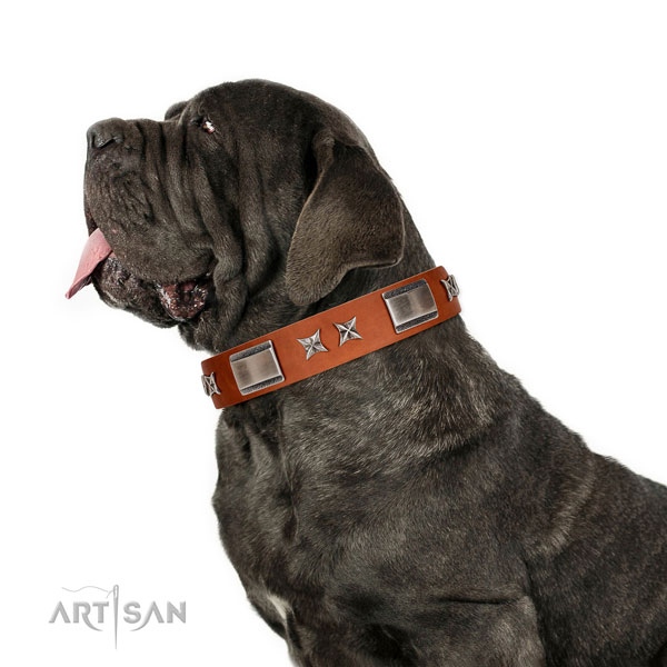 Easy wearing best quality genuine leather dog collar with studs