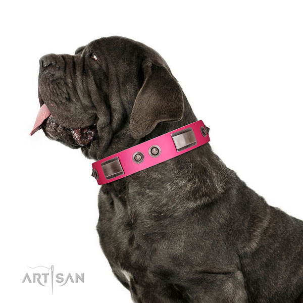 Easy adjustable leather dog collar with adornments