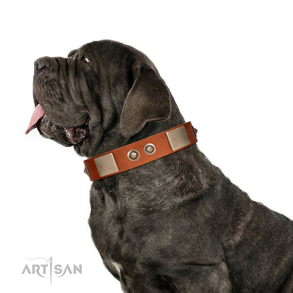 Corrosion resistant buckle on natural genuine leather dog collar for easy wearing