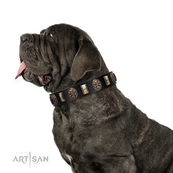Full grain genuine leather collar with decorations for your attractive pet