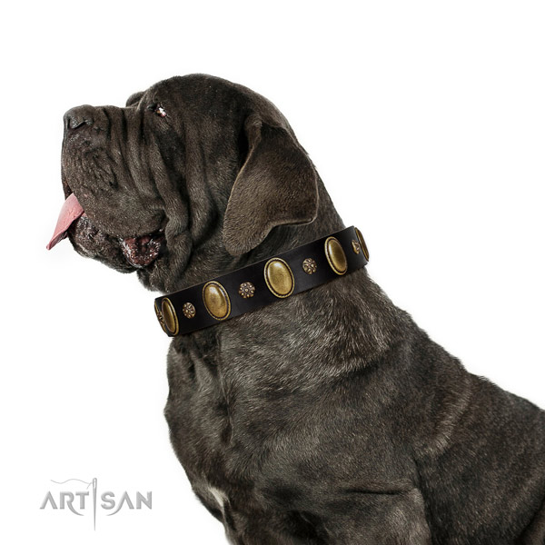 Comfortable wearing soft full grain natural leather dog collar with embellishments