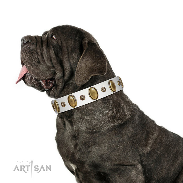 Comfortable wearing flexible full grain leather dog collar with decorations