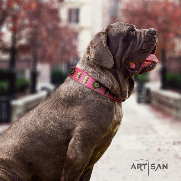Mastino Neapoletano top notch decorated full grain leather dog collar for everyday use