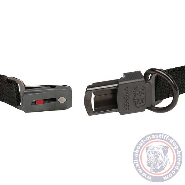 Reliable pinch dog collar with click lock buckle