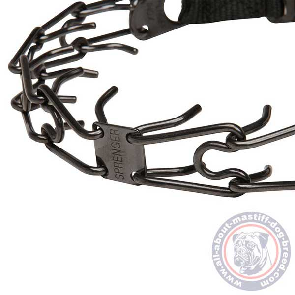 Safe training dog collar with smooth pinches