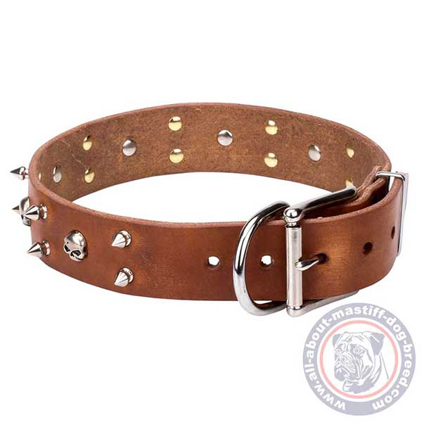 Designer brown leather dog collar