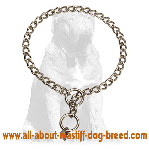 Mastiff Stainless Steel Choke Dog Collar with Quality Label 1/9 inch (3 mm)