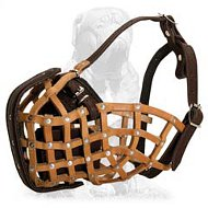 Mastiff Leather Basket Dog Muzzle for Attack Training