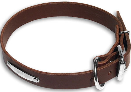 Dog Name ID Plate Brown collar 25'' for Mastiff /25 inch dog collar-C456
