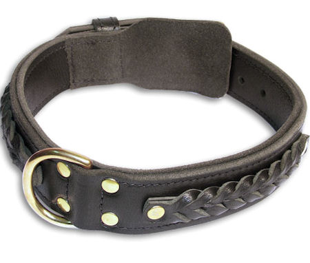 Braided Leather Black collar 27'' for Mastiff /27 inch dog collar-C55s33