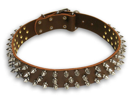 Spiked Brown collar 24'' for Mastiff /24 inch dog collar - S44