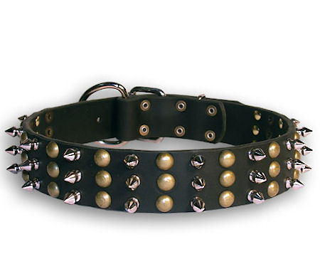 Spike and Stud Leather Black collar 25'' for Mastiff /25 inch dog collar-S59