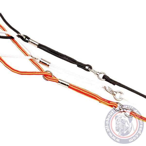 Round combo dog leash with sturdy hardware
