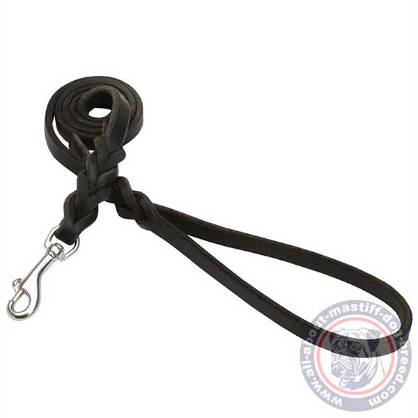 Soft braided leather dog leash