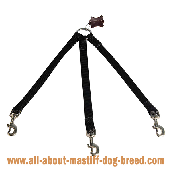 Mastiff Dog Triple Coupler for Walking Using 1 Leash for  3 Dogs