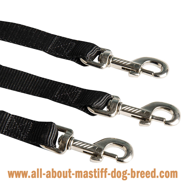 Mastiff Dog Triple Coupler Equipped with 3 Snap Hooks