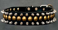 Leather Spiked and Studded Collar 3 Rows - Mastiff dog collar