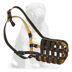 Suitable leather basket Mastiff muzzle for long-time walking